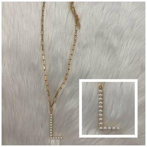 4/$20 BaubleBar Gold & Pearl Letter L Necklace